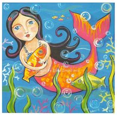 Art print from original acrylic painting Mermaid with a fish by Elina Lorenz. $24.99, via Etsy.