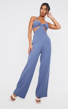 Blue Rib Strappy Cut Out Open Back Jumpsuit | PrettyLittleThing Blue Ties, Petite Size, Dusty Blue, Playsuits, Strappy Heels, Photoshoot Ideas, Mini Bag, Beachwear, Jumpsuit
