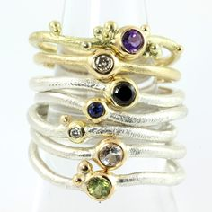 Delicate bubble stacking rings by Galleri Castens, Handmade