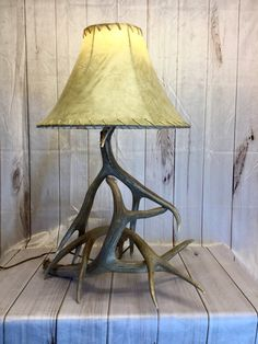 Deer Antler Lamp Made from Real Antlers Deer Antler Lamps, Something Just Like This, Shed Antlers, Shaving Set, Lamp Ideas, Antique Lamps, Harp, Bronze Finish, Old Things