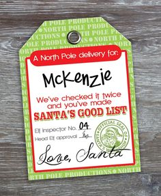 God bless {our} nest: Free Printable: 'Love, Santa' Tags
