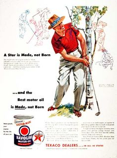 1954 Texaco Havoline Motor Oil original vintage advertisement. With endorsement by professional golfer Sam Snead.