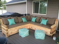 """Outdoor sectional built using cedar wood and my trusty Kreg Jig. LOVE this tool!"" -Megan R. #palletoutdoorfurniture"