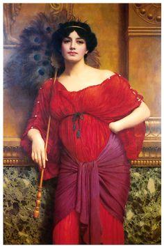 A Roman Matron by John William Godward 1905 - Pré-Rafaelistas- Tema ousado, muita cor e percursor arte moderna.