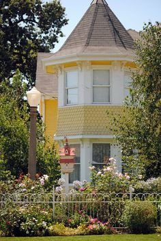 Victorian house -- corner tower with lots of flowers, old fashioned street lamp and bird house.