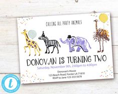 Editable Party Animals Birthday Invitation, Party Animals instant download invitation,You print birthday invitation, Party Animals DIY party Party Animals, Animal Party, Animal Birthday, Diy Party, Party Printables, Birthday Celebration, Birthday Invitations, Save Yourself, Rsvp