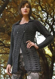 Black Textured Crochet Cardigan Pattern. Chaleco crochet patron. More Patterns Like This!
