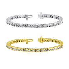 Auriya 14k Gold 2 1/2ct TDW Diamond Tennis Bracelet (I-J, I1-I2) (Yellow Gold), Women's, Size: 7 Inch