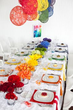 House of Ollichon loves.Rainbow Wedding Inspiration and Colorful Table Setting. Perfect table setting for a same-sex wedding bursting with pride! Wedding Themes, Wedding Colors, Rainbow Wedding Decorations, Wedding Ideas, Wedding Rustic, Reception Decorations, Wedding Pictures, Wedding Centerpieces, Rainbow Theme