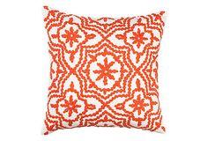 Crewel 18x18 Pillow, Orange on OneKingsLane.com