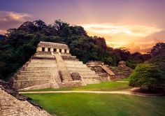Palenque at sunset -
