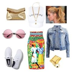 A fashion look from June 2015 featuring wine shirts, jean jacket and colorful skirts. Browse and shop related looks. Stella Jean, Wildfox, Bling Jewelry, Keds, Vince Camuto, Champion, Fashion Looks, Michael Kors, Crop Tops
