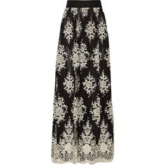 Alice + Olivia Brent appliquéd tulle maxi skirt (1 615 PLN) ❤ liked on Polyvore featuring skirts, bottoms, black, long floral maxi skirt, floor length maxi skirt, elastic waist skirt, floral print maxi skirt and long tulle maxi skirt