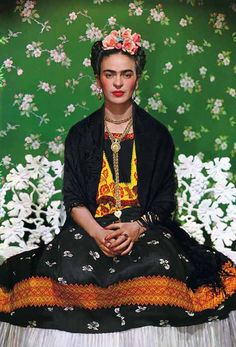 Frida - http://vintage-spirit.blogspot.com/2010/11/nickolas-muray-frida-on-white-bench-new.html