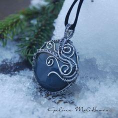Pendant silver agate silver pendant handmade wire от melikhova