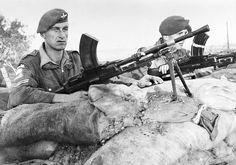 Men of 3rd Battalion, The Parachute Regiment on guard at a water filtration plant near Suez, 25 December 1951