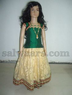 cream color tissue kids lehenga