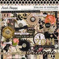 Digital Scrapbook Kit, Kiss Me At Midnight by Traci Reed, Jenn Barrette, & Libby Pritchett