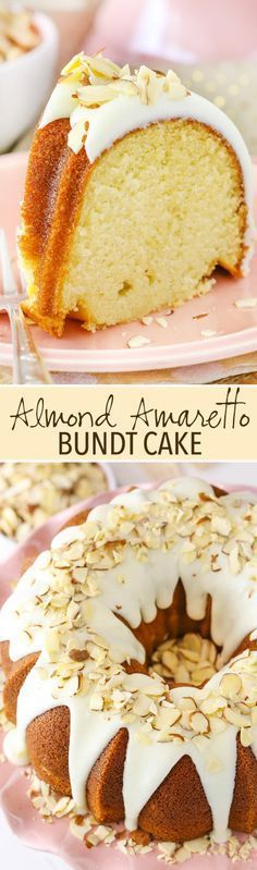 Almond Amaretto Bundt Cake! Soft, moist and full of amaretto almond flavor!