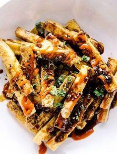 Fried Tofu with Sweet Sesame Garlic Sauce