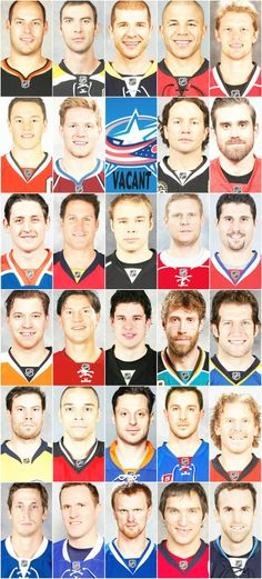Your 2013 NHL team Captains in alphabetical order by city...I think it's changed a bit...:)