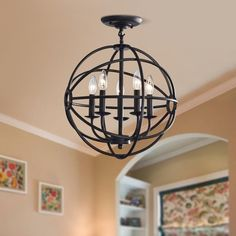 Shop for Benita Antique Black Iron Orb Flush Mount Crystal Chandelier. Get free delivery On EVERYTHING* Overstock - Your Online Ceiling Lighting Store! Get in rewards with Club O! Flush Mount Chandelier, Globe Chandelier, Flush Mount Lighting, Flush Mount Ceiling, Chandelier Lighting, Chandeliers, Room Lights, Ceiling Lights, Ceiling Fans