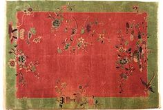 """Art Deco Chinese rug with some age wear and one stain; 8'10"""" x 6'2"""". OKL price: $3,999.00."""