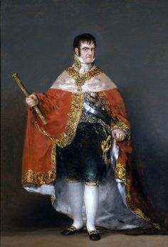 Francisco Goya King Ferdinand VII with Royal Mantle, , Museo del Prado, Madrid. Read more about the symbolism and interpretation of King Ferdinand VII with Royal Mantle by Francisco Goya. Spanish Painters, Spanish Artists, Art Espagnole, Fernando Vii, Web Gallery, European Paintings, Chef D Oeuvre, Kaiser, Old Master