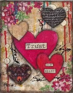 Mixed Media Painting - Trust Your Heart - Collage, Acrylics, Whimsical