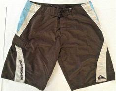 QUIKSILVER Mens Board Shorts Trunks Size 34 Surf Swim Brown Beige Blue