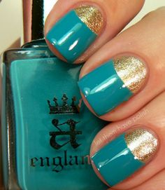 Add a glossy teal to a bright gold polish to create this always-popular mani style that flips your typical French upside down. Click through for more glittery manis!