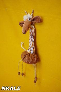 Simplesmente Artesanato: Girafa de Fuxico e Crochê - pap