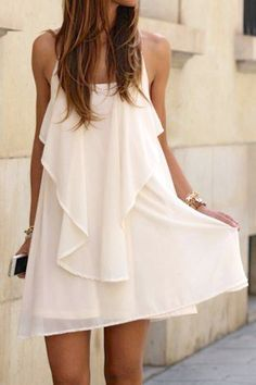 #White #Ruffle #Spaghetti #Strap #Dress #summer #KaiyoAino