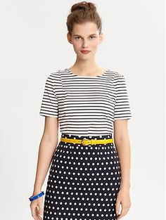 Stripes & polka dots and pop of yellow.