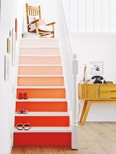 What do you think about this trend? I personally love it and have colored stairs at home(a bit of colors never hurt) Source: deco&style Painted Staircases, Painted Stairs, Spiral Staircases, Staircase Painting, Style At Home, Stairs Colours, Escalier Design, Staircase Design, Modern Staircase