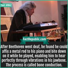 Beethoven Bone Conduction-After Beethoven went deaf, he found he could affix a metal rod to his piano and bite down on it while he played, enabling him to hear perfectly through vibrations in his jawbone. The process is called bone conduction. Music Humor, Music Memes, Wtf Fun Facts, True Facts, History Memes, History Facts, Band Problems, Flute Problems, Marching Band Humor