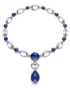 GABRIELLE'S AMAZING FANTASY CLOSET | Bulgari Diva Collection Sapphire Cabochon and Diamond Necklace with Pendant