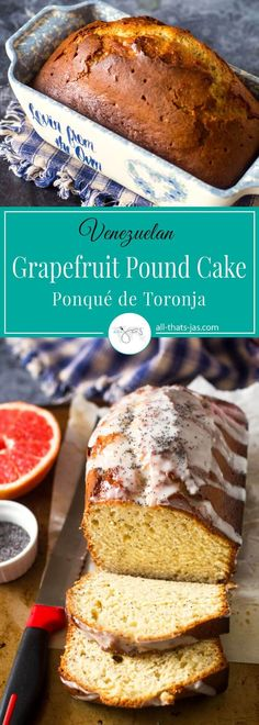 Citrusy and moist, this Venezuelan grapefruit pound cake with poppy seeds and the yogurt glaze is refreshing and light making it perfect for breakfast, dessert or a snack. | allthatsjas.com | #cake #poundcake #grapefruit #poppyseeds #yogurt #baking #recipeofthemonth #recipes #homemade #Venezuela #dessert #sweets #snack #breakfast #loaf #mothersday