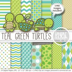 Digital Paper and Clip art Little Baby Turtle teal green turquoise lime Baby Shower I'ts a boy birthday argyle polka dots water waves
