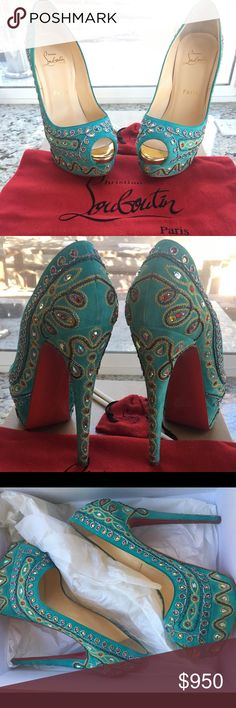 CHRISTIAN LOUBOUTIN Bollywood Turquoise Suede 38 Step brightly! 💯% Authentic CHRISTIAN LOUBOUTIN Bollywood Turquoise suede leather with crystal embellishments. Lady Peep Toe 150M Size 38 pumps include original box, dust bag, and heel tip replacements.  Preowned: worn once. Excellent Condition, light wear on heels (see pics). Retail $2700. Christian Louboutin Shoes Heels