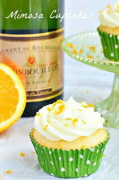 This mimosa cupcake recipe is orange cupcakes with an orange champagne frosting.