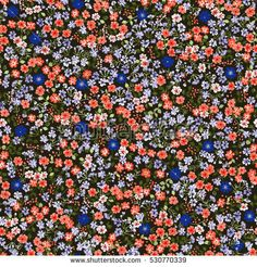 Simple cute pattern in small-scale flowers. High-coverage millefleurs. Calico style. Floral seamless background for textile or book covers, manufacturing, wallpapers, print, gift wrap and scrapbooking
