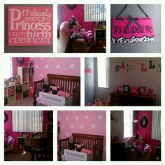 Isabella's Minnie Mouse room is finally done! For my Trin Trin...the princess sign for K room though...lol...OMG pink and black dots