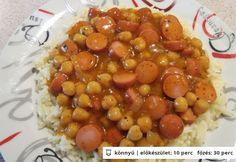 Csicseriborsós virslipörkölt jázmin rizzsel Chana Masala, Beans, Vegetables, Ethnic Recipes, Food, Meal, Veggies, Essen, Vegetable Recipes