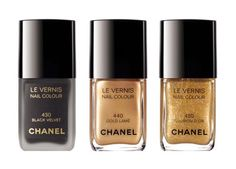 Sometimes we just want to wear the classics.  Chanel nail polishes in Black Velvet, Gold Lame, and Illusion D'or