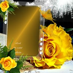 Yellow Roses Frame. Click to add your own photo to this, it's from www.imikimi.com. Imikimi is a free photo framing site.   #yellow #roses #photography #photoframes