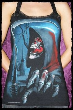 Grim Reaper shirt Horror Halter top halloween by kittyvampdesigns
