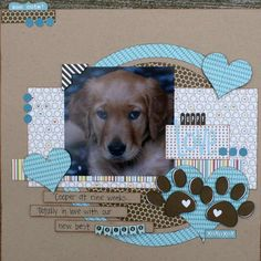 Puppy Love scrapbook layout by Kim Holmes (bella blvd) Dog Scrapbook Layouts, Scrapbook Sketches, Scrapbook Paper Crafts, Scrapbook Cards, Wedding Scrapbook, Box Photo, Puppy Love, Cardmaking, Pets
