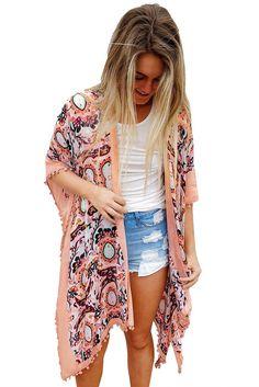 42a4f6297f Pink Boho Print Beachwear Swimwear Cover-Up Kimono Bikini Cover Up