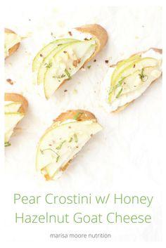 Pear Crostini with Honey Hazelnut Goat Cheese (sponsored)